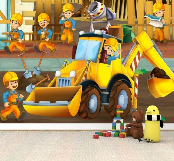 Vlies XXL-Poster Fototapete Tapete Kinder Bagger Bau | Kinder ...