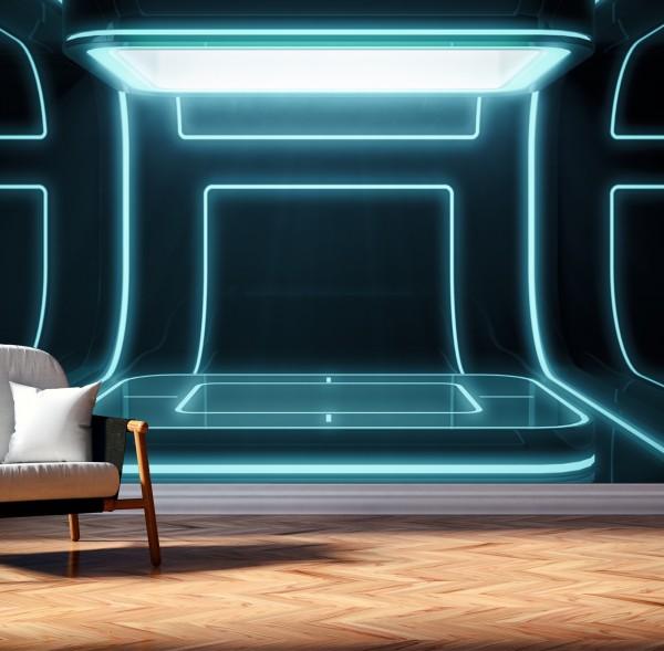 Vlies Tapete Poster XXL Fototapete 3D futuristisch Bühne Neon