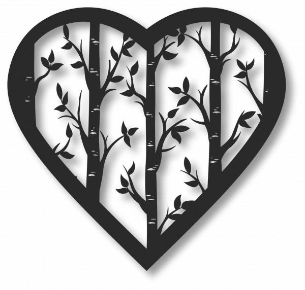 Bild Wandbild 3D Wandtattoo Acryl Mobile Birken Bäumchen Herz