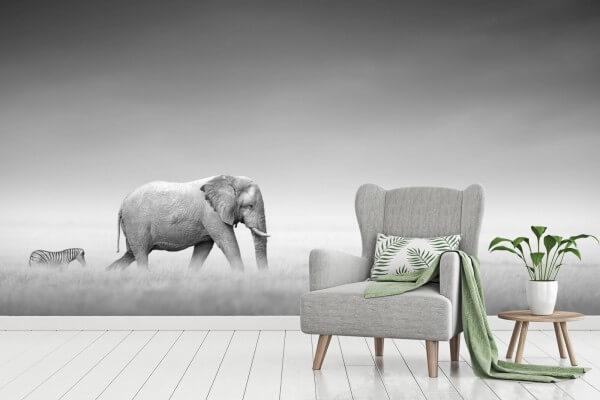 Vlies Tapete Poster Fototapete Panorama Wildnis Elefant Zebra