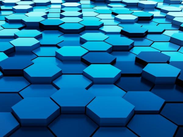Vlies Tapete Fototapete 3D Effekt Muster Waben blau sechseck