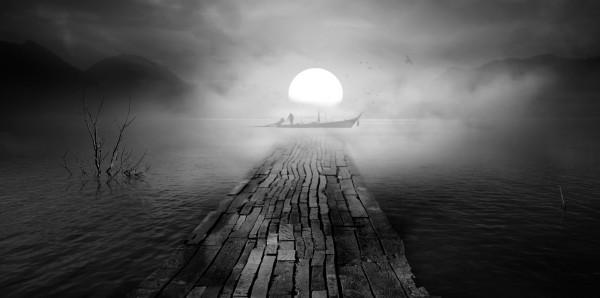 Magnettafel Pinnwand Bild XXL Panorama Dark Night Nebel Vollmond