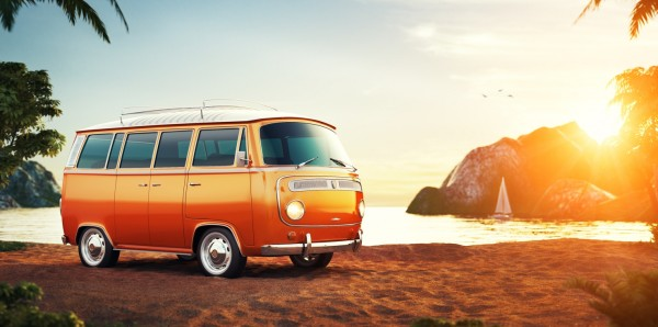 Magnettafel Pinnwand Bild XXL Panorama Bus Bulli Clementine