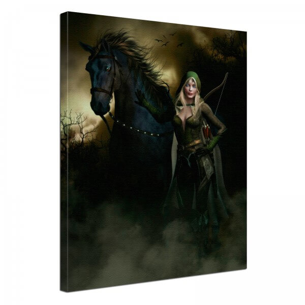 Leinwand Bild edel Fantasy Gothic schwarzes Pferd