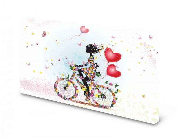Magnettafel Pinnwand Bild Blumen Blumenmädchen Fahrrad gekantet