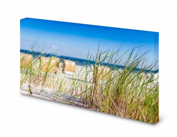 Magnettafel Pinnwand Bild Strandkorb Düne Meer See Natur