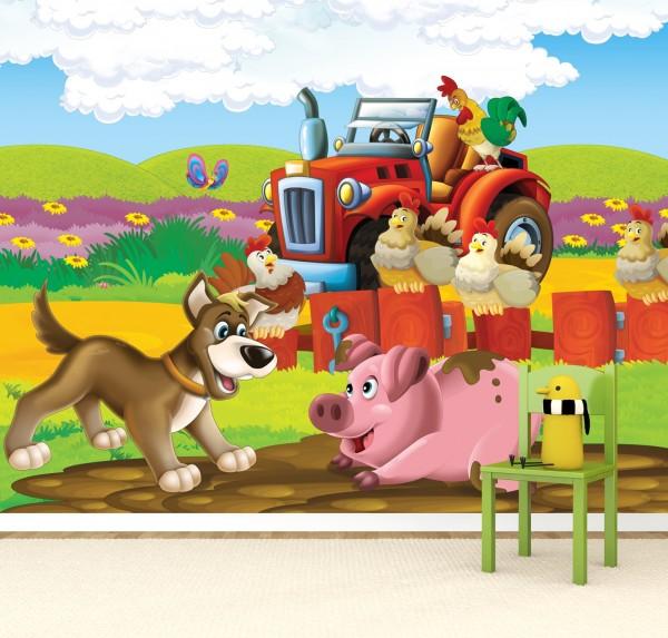 Vlies Tapete Poster Fototapete Kinderzimmer Kleiner roter Traktor