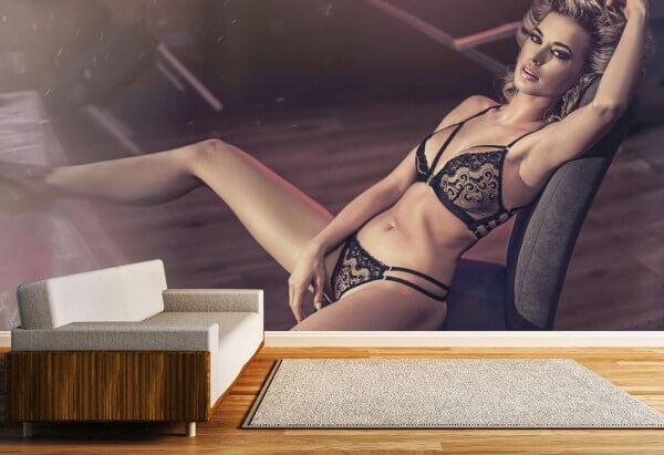 Vlies Tapete Fototapete Panorama Erotik Blond Lady Dessous