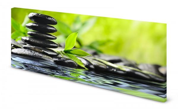 Magnettafel Pinnwand Bild Steinbalance Bambus Natur Fluss gekantet