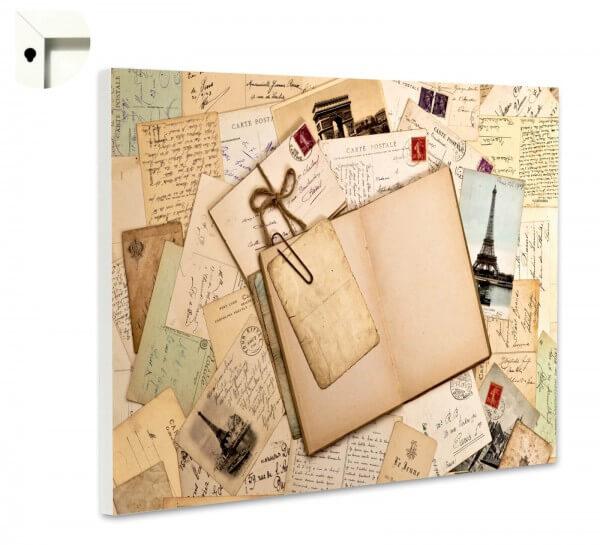 Magnettafel Pinnwand Nostalgie Vintage Alte Briefe Postkarten Paris