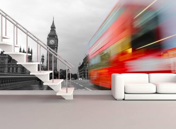 Vlies Tapete XXL Poster Fototapete London Big Ben red Bus