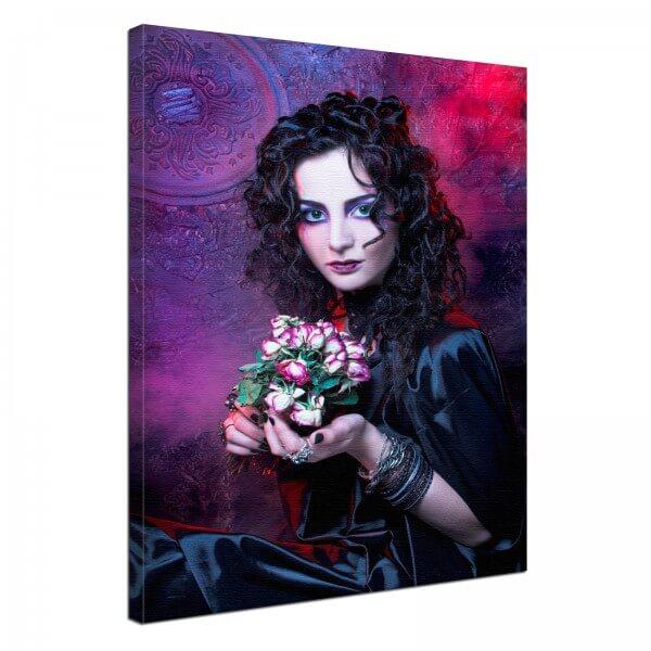 Leinwand Bild Gothic Fantasy Black Lady in lila