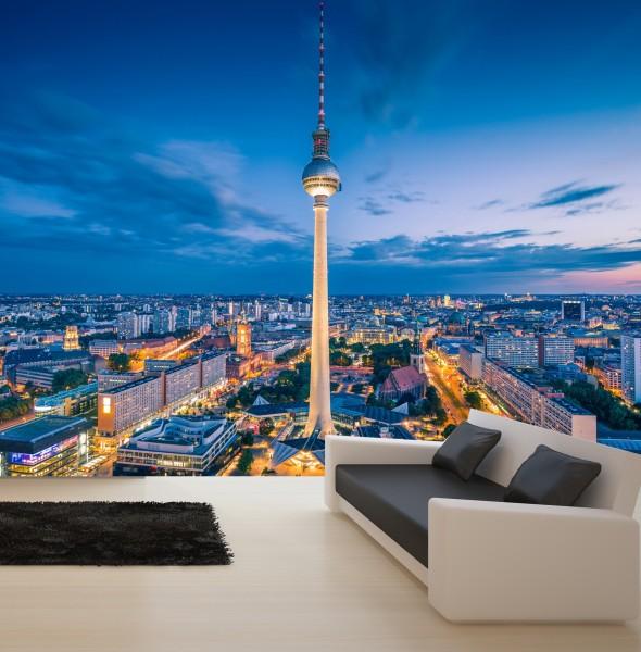 Vlies Tapete XXL Poster Fototapete Berlin Skyline Fernsehturm Nacht