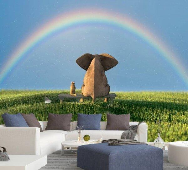 Vlies Tapete XXL Poster Fototapete Elefant Freunde Regenbogen