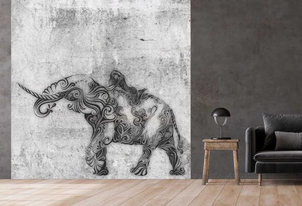 Vlies Tapete Betonoptik Poster Fototapete Tribal Elefant Bulle