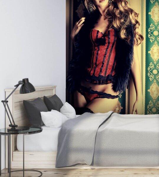 Vlies Tapete XXL Poster Fototapete Erotik Corsage rot