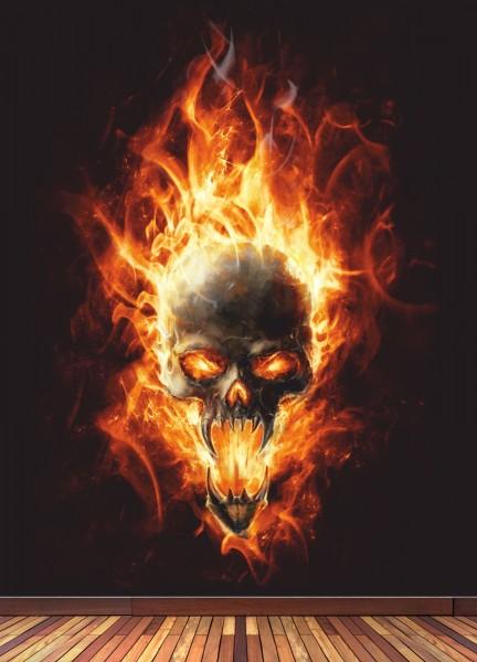 Vlies Tapete XXL Poster Fototapete Feuer Flammen Totenkopf Hölle