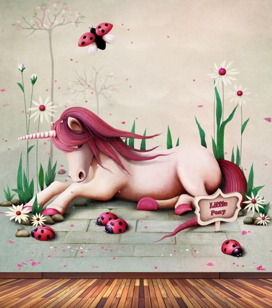 Vlies Tapete Poster Fototapete Kinderzimmer Einhorn rosa pink