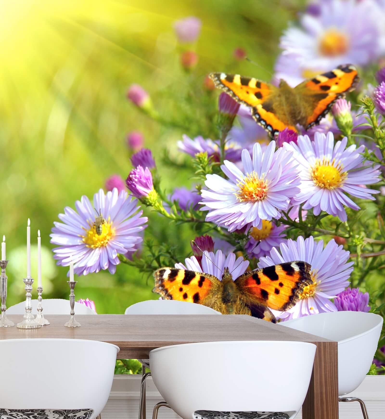 Vlies Xxl Poster Fototapete Natur Blumen Schmetterlinge Natur