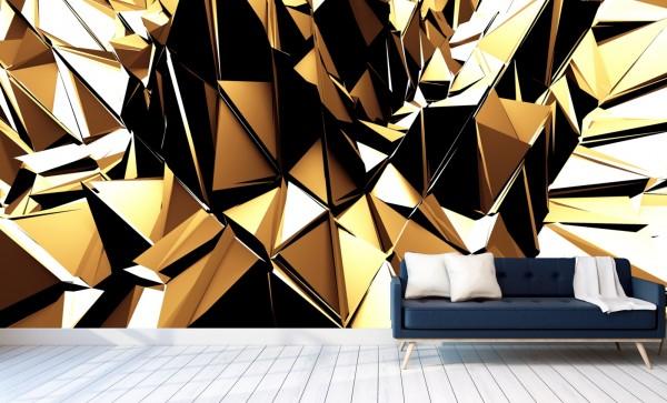 Vlies Tapete Poster XXL Fototapete 3D Effekt Muster Abstrakt Gold