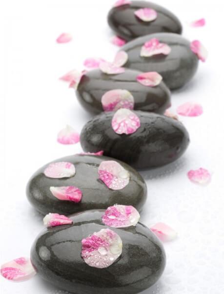 Poster Fototapete Blütenblätter auf Steinen