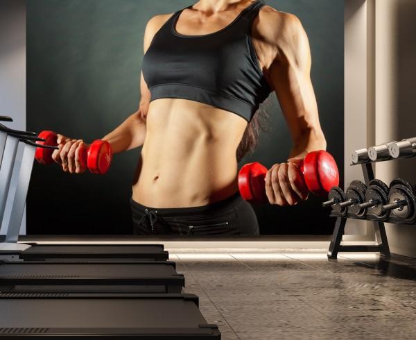 Vlies Tapete XXL Poster Fototapete Sport Fitness Frau Bauchmuskeln