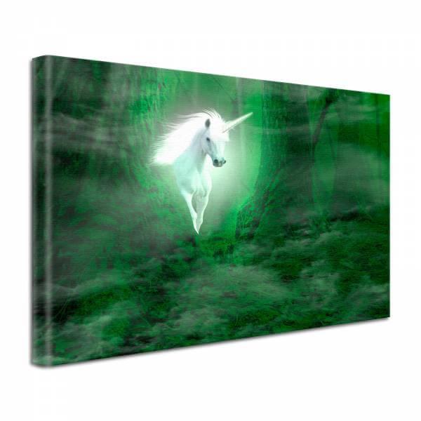 Leinwand Bild edel Fantasy Einhorn in weiß