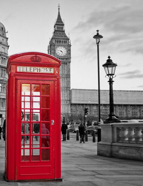 Poster Fototapete Städte Big Ben Telephone