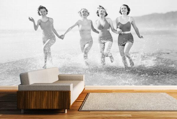Vlies Tapete XXL Poster Fototapete Panorama Retro Vintage Strandbad