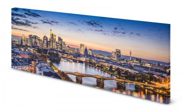 Magnettafel Pinnwand Bild Panorama Frankfurt Skyline gekantet