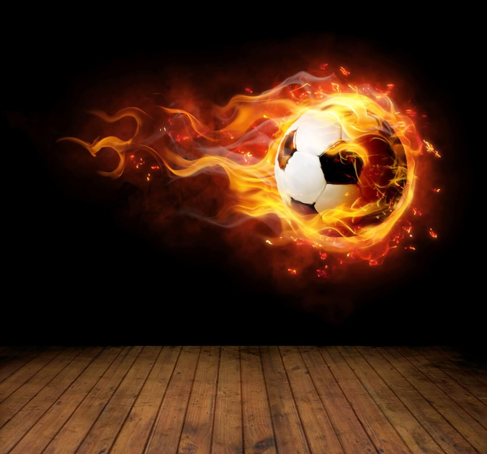 Vlies Xxl Poster Fototapete Tapete Flammen Burn Fussball In Flammen