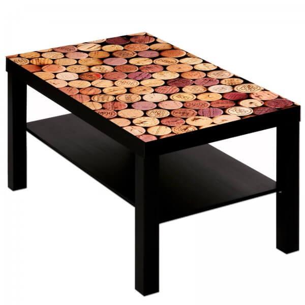 Couchtisch Tisch mit Motiv Bild Bar Restaurant Rotwein Korken 2