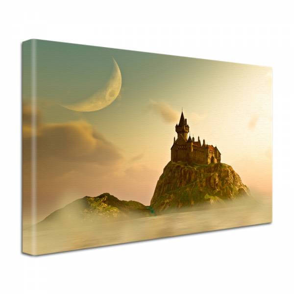 Leinwand Bild edel Fantasy Burg Festung