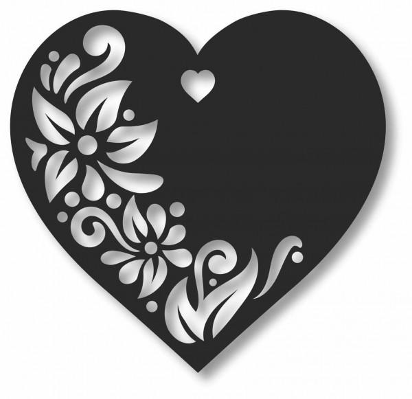 Bild Wandbild 3D Wandtattoo Acryl Mobile Cut-Out Herz Blumen