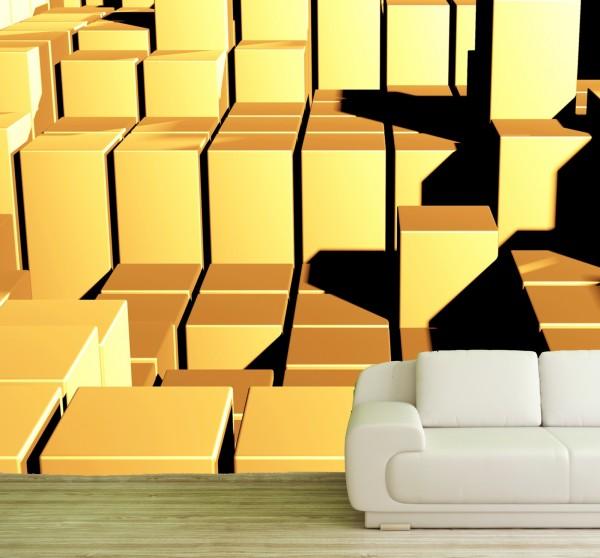 Vlies Tapete Poster Fototapete 3D Effekt Würfel Quadrat Goldoptik