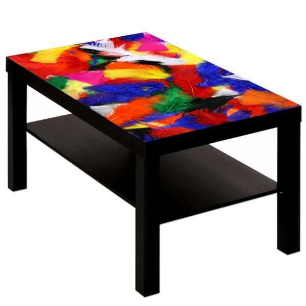 Couchtisch Tisch mit Motiv Bild Muster bunte Federn flauschig