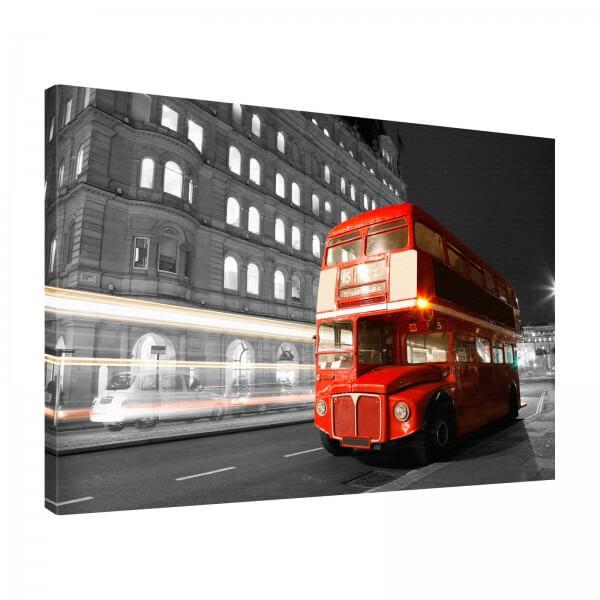 Leinwand Bild edel Städte London England Big Red Bus