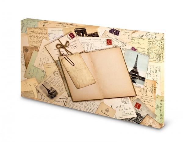 Magnettafel Pinnwand Bild Briefe Postkarte Paris XXL gekantet
