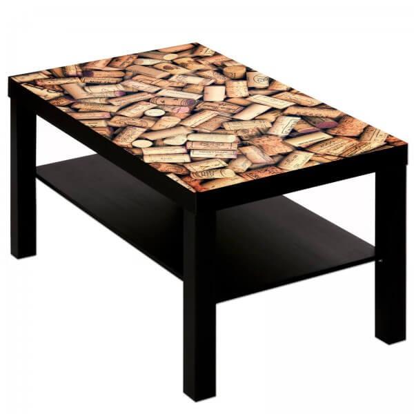 Couchtisch Tisch mit Motiv Bild Bar Restaurant Rotwein Korken 1