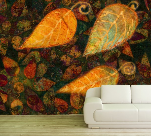 Vlies Tapete Fototapete Muster Stoff Patchwork Herbst Blätter