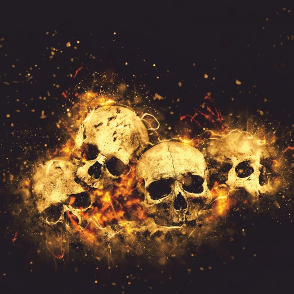 Vlies Tapete XXL Poster Fototapete Totenkopf Feuer Glut