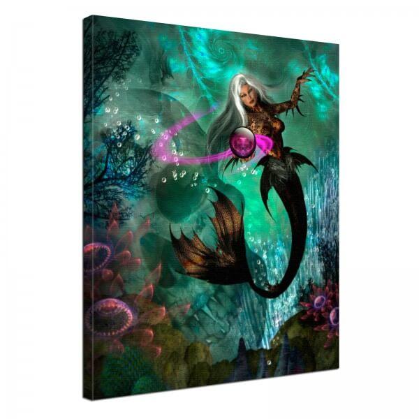 Leinwand Bild edel Fantasy Gothic Meerjungfrau
