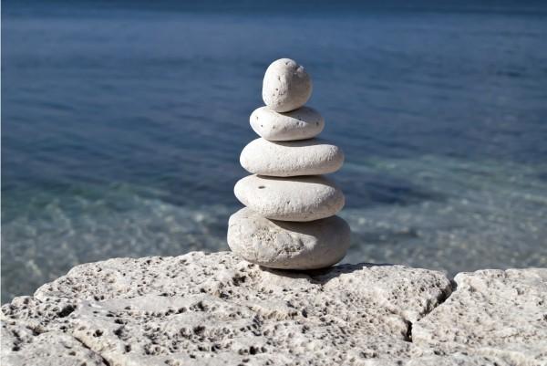 Magnettafel Pinnwand XXL Bild Natur Steinbalance Meer
