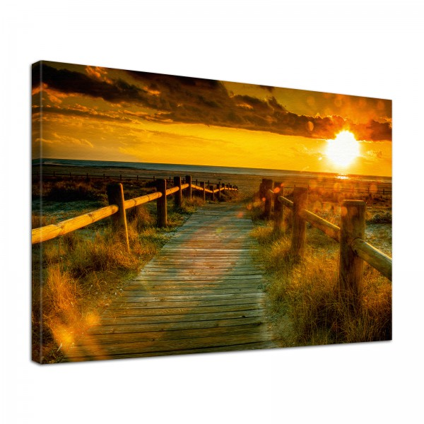 Leinwand Bild edel Natur Sonnenuntergang am Meer Dünen