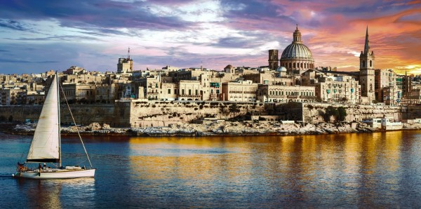 Magnettafel Pinnwand Bild XXL Panorama Valetta Malta