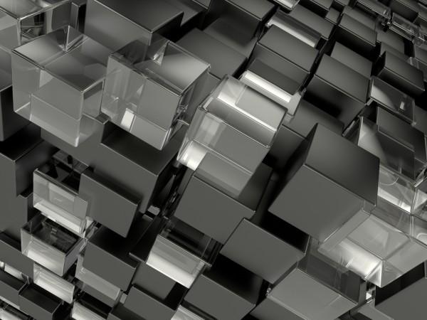 Vlies Tapete XXL Fototapete 3D Würfel grau anthrazit