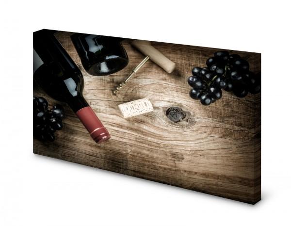 Magnettafel Pinnwand Bild Wein Weintrauben Korkenzieher Holz gekantet
