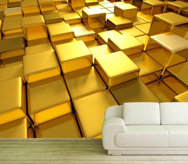 Vlies Tapete Poster Fototapete 3D Effekt Würfel Gold Quader Cube