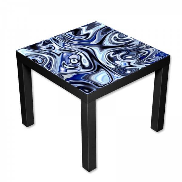 Beistelltisch Couchtisch mit Motiv Muster in blauen Wellen