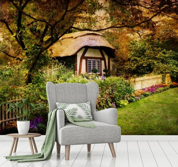 Vliestapete Poster Fototapete Cottage englischer Garten